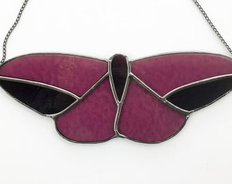 Magenta Moth Stained Glass Suncatcher Home Decor Wall Hanging