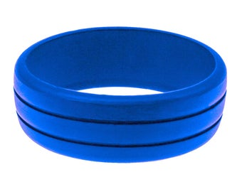 Mens Rubber Silicone Wedding Ring Engagement Band Blue Best Quality Flex Hypoallergenic Cool Modern Athletic Man Jewelry No Cheap Logos