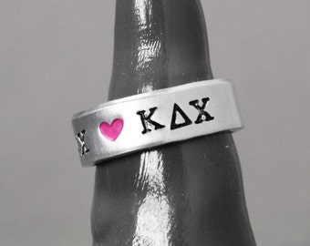 Sorority Ring, Kappa Delta Chi Ring, Sorority Jewelry, Hand Stamped Jewelry, Personalized Jewelry, Kappa Delta Chi Jewelry,