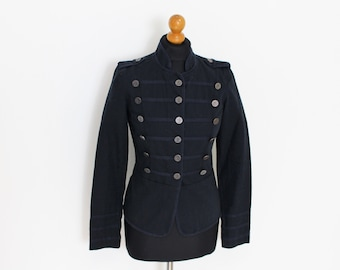Marching Band Jacket Dark Blue Military Blazer  Navy Women's Double Breasted Military MJ Michael Jackson Blazer  Small Size