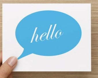 Note cards: Speech bubble hello.  Package of 10, 20 or 30