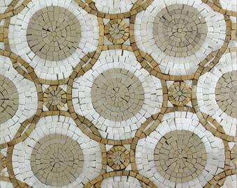 Intersecting Circles Handmade Art Field Tiles Decor Marble Mosaic HF17