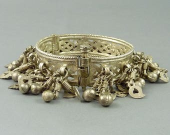 Old silver indian bracelet from Himachal Pradesh, called Banga, ethnic tribal jewelry, indian silver, old ethnic indian bangle