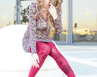 Tights With Black Flowers , Hand Printed Tights , Bordeaux Pantyhose , Leggings