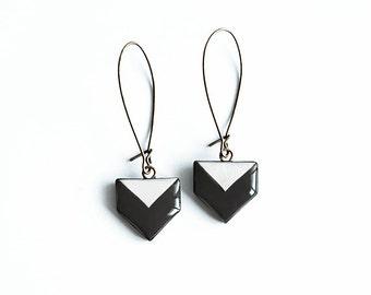 Black chevron earrings small dangle earrings black white jewelry geometric