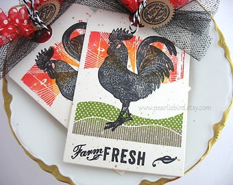 Farm Fresh Rooster Gift Tags~set of 2~Ranch~Country Kitchen~Homespun Farm~Chicken~Sunset~black~yellow~orange~green~red~Tuscany~Farmhouse