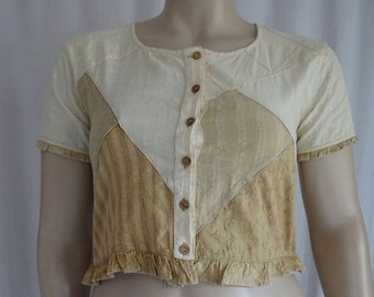 EAMZ 415 SACRED THREADS Patchwork Neutral Tones Crop Top Small