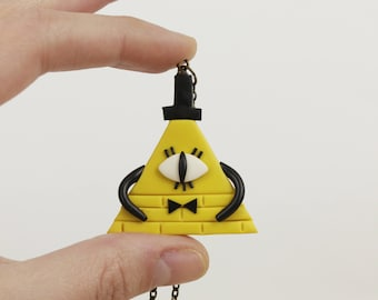 Bill Cipher necklace Gravity Falls pendant Funny necklace Gravity Falls  Bill Cipher jewelry Cartoon pendant necklace Gravity Falls pendant