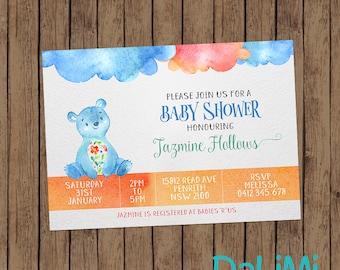 Baby Shower Invitation - Teddy Bear Invitation - Bright Watercolor Invitation - Printable Invitation - Personalised - Digital File!