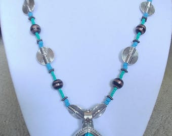 Teal Tease Beaded Necklace