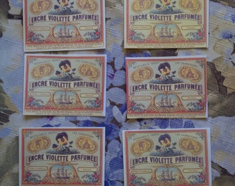 French Labels, French Pansy Vintage Labels, Botanical French Labels,