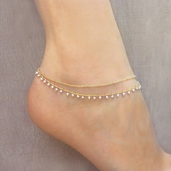 ribbon handmade product anklet hugerect chain ankle jewelry inch gold in anklets bracelet