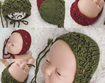 Newborn size christmas bonnet,red,green,photo prop,gift,coming home,ready to ship