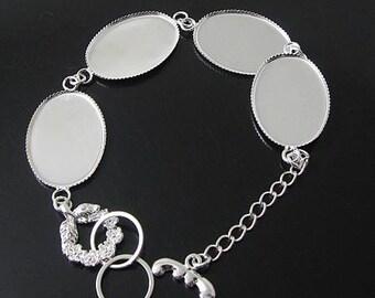 5pcs Bracelet Blanks, 18 x 25mm oval bezel Silver bracelet blanks