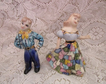 Vintage Square Dancers, Figurines, Mid Century, Rockabilly, Western Dance