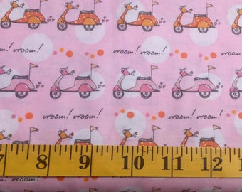 Timeless Treasures Pink with Vespa Scooters C8360 Cotton Fabric By the Yard