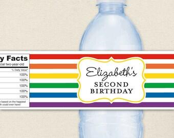 Rainbow Party - 100% waterproof personalized water bottle labels