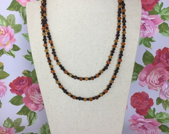 Vintage Amber - handmade vintage style beaded necklace