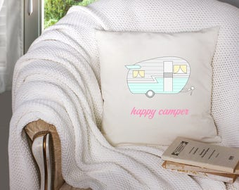 happy camper throw pillow - shasta camper - vintage camper decor - camper decor  - decorative throw pillow . throw pillow with words -