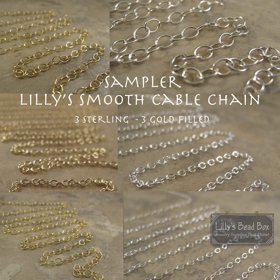 Chain Sampler, Six Different Smooth Cable Chains, 3 Sterling, 3 Gold Filled, Jewelry Supplies, 3 Inches of Our Favorite Smooth Cable Chains
