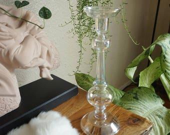 Tall Iridescent Glass Candlestick Holder