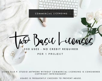 TWO Basic Commercial Use License for TWO Listing of Artwork - Up to 350 Copies EACH - Per 1 Project- No Credit Needed