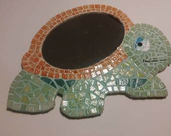 Small mosaic mirror turtle green and brown glass enamels