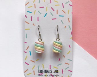 Pastel Marshmallow Dangle Earrings with Surgical Stainless Steel Hooks