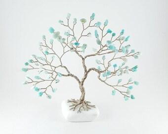 Amazonite Gemstone Tree, Amazonite Tree Sculpture, Gem Tree, Tree of Life, Handmade Tree, Lucky Tree