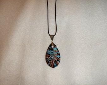 "PAY IT FORWARD - Blue & gold swirl 2.5"" lampwork pendant necklace (PL04)"