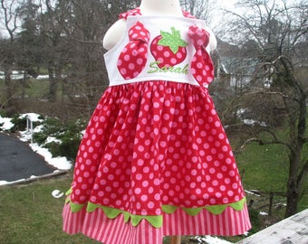 red strawberry knot dress,  strawberry shortcake birthday, strawberry 1st birthday, 2nd birthday party dress, strawberry birthday