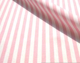 Fabric pure cotton farmer's stripe pink white 1 cm