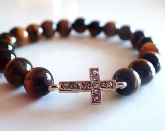 Tiger eye bracelet, Cross bracelet, Beaded bracelet woman, Protection bracelet , Healig bracelet woman, Tiger eye, Gift for her
