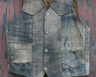 Brown Leather Painted Snake Vest