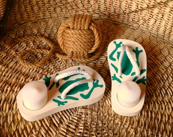 decorative candle, flip flops, patio candle, deck candle, candle holder, candle for table, Candle lighting, votive candles, outdoor candle