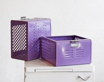 1950s Reclaimed Locker Basket Refinished in Lilac