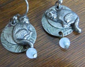 Vintage Silver Forest Beaded Cat Dangle Earrings