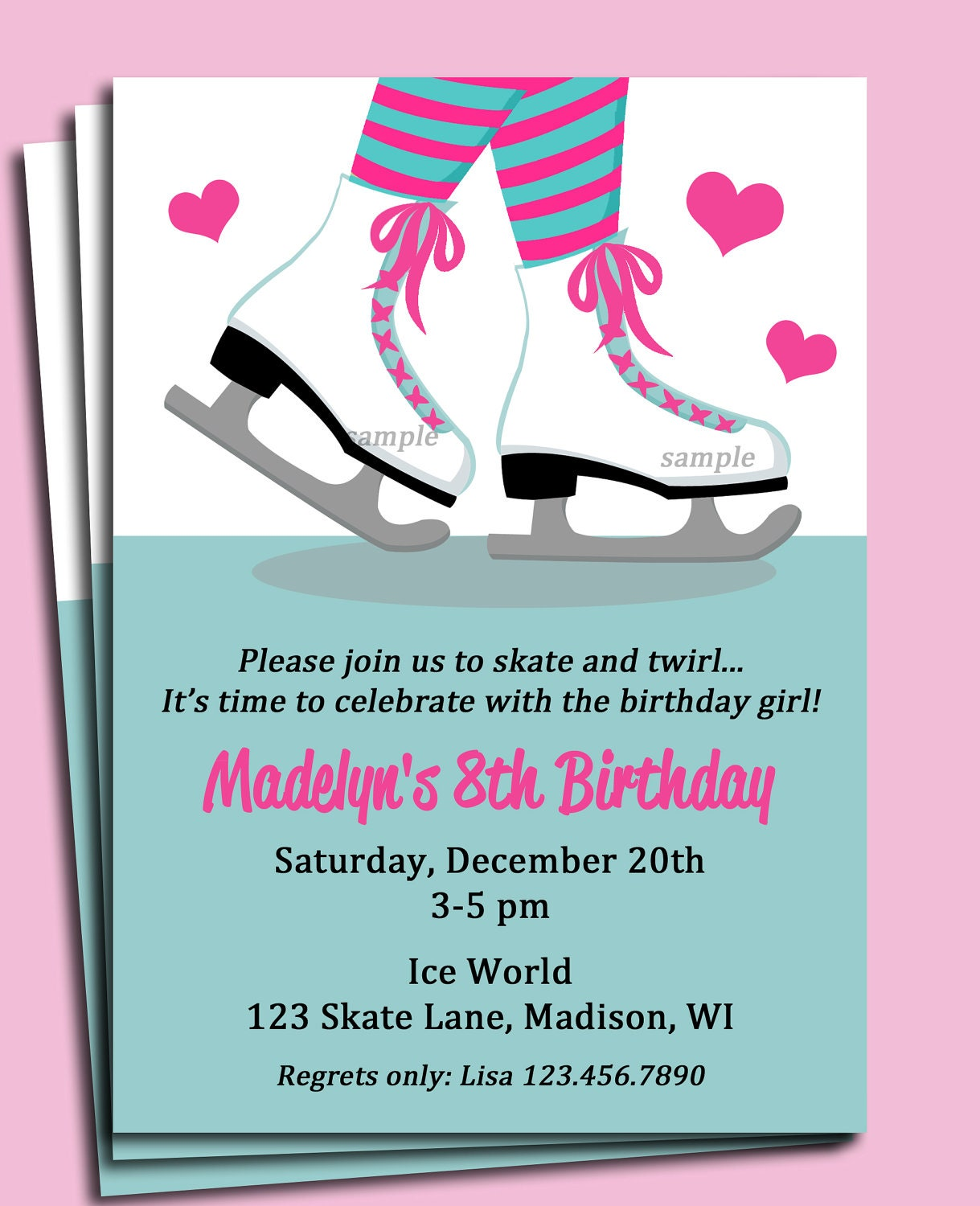 Ice Skating Invitation Printable or Printed with FREE SHIPPING