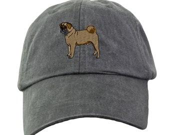 Pug Baseball Hat - Embroidered.  Pug Mom Baseball Hat.  Pug Dad Baseball Hat.  Pug Mom Gift.  Pug Dad Gift.  Pug Baseball Cap. LP101