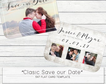 "SAVE 75% (Today Only) - 5x7 ""Vintage Save our Date"" Photo Template for Photographers"