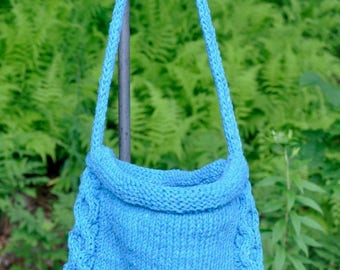 Teal/Turquoise Knitted Drawstring Bag/Knapsack