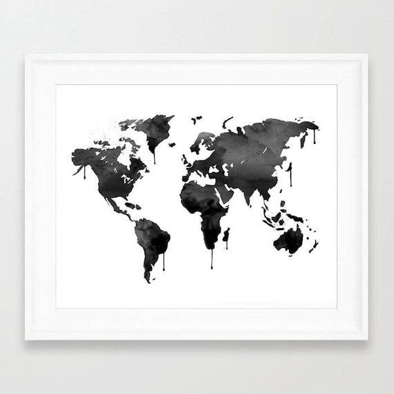 Black world map black globe travel art world map world te gusta este artculo gumiabroncs Image collections