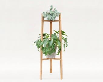 Minimalist tall plant stand, pot holder made of oak.