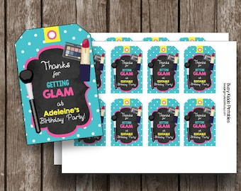 50% OFF SALE - Fashion Show - GLAM Party Favor Tags - Thank You - Birthday Party -  Salon - Runway- Girls - Makeover - Chalkboard