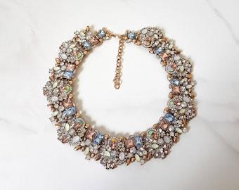 Nude, Mint & Gold Rhinestone Statement Necklace    Women Jewel Necklace