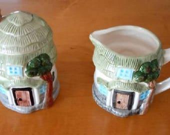"Set of ""Country Pastures"" Handpainted Ceramic Sugar & Creamer - Farm Buildings"