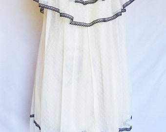 Vintage 70s Black White Lace Soft Ruffle Layered Babydoll Nightgown Sheer Lingerie