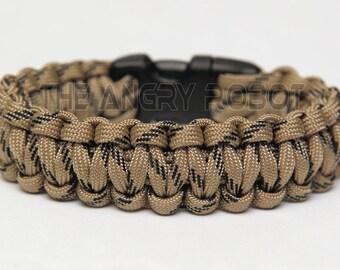 550 Paracord Survival Bracelet  - Tan Black Fleck