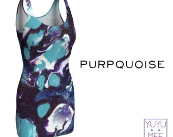 """Bodycon Dress, Rave, Festival, Psychedelic Art, """"Purpquoise"""""""