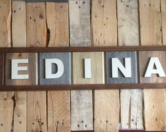 Wood Edina Sign